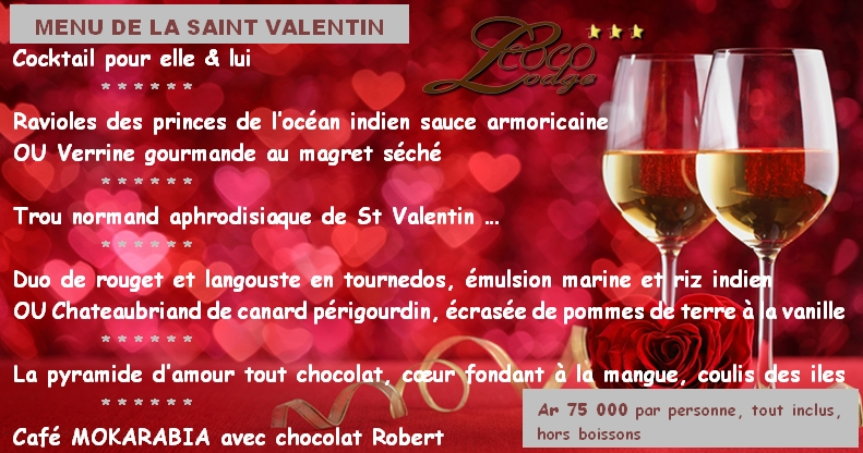 Menu Saint Valentin au Coco Lodge Majunga